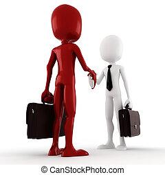 negócio, homens negócio, -, encerramento, homem, 3d