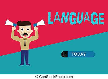 negócio, huanalysis, falado, foto, mostrando, language., escrita, conceitual, escrito, um, palavras, comunicação, showcasing, mão, método, consistindo