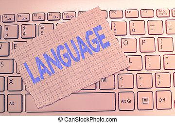 negócio, huanalysis, falado, foto, mostrando, language., escrita, nota, método, escrito, um, palavras, comunicação, showcasing, consistindo