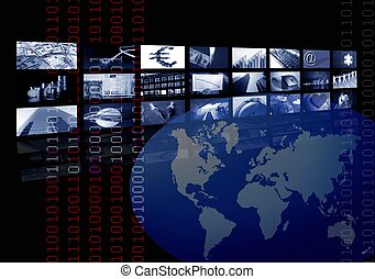 negócio, incorporado, mapa mundial, múltiplo, tela