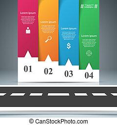 negócio, infographic., items., quatro, papel, estrada