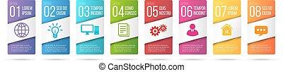 negócio, infographics, cartões, ou, etiquetas, ícones, jogo