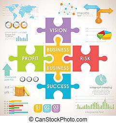 negócio, infographics, mapa