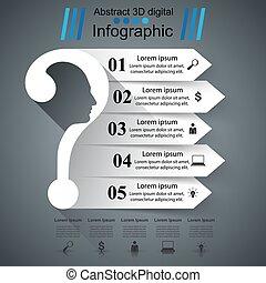 negócio, infographics., pergunta, mark.