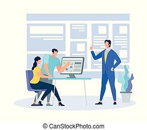 negócio, informação, treinador, demonstrar, aprendizagem