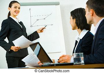 negócio, instruindo