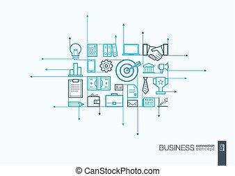 negócio, integrada, linha magra, symbols.