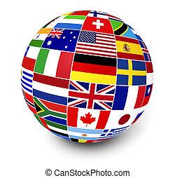 negócio internacional, mundo, bandeiras
