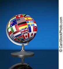 negócio internacional, mundo, bandeiras, escola, globo
