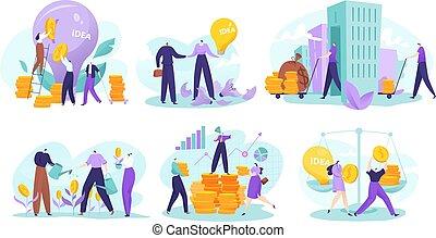 negócio, investimento, ouro, crescimento, apartamento, personagem, conceito, lucro, vetorial, ilustração, caricatura, dinheiro, investir, finanças, homem negócios, moedas