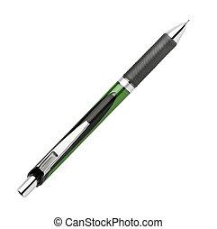 negócio, isolado, caneta, chafariz, fundo, branca