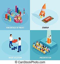 negócio, isometric, conceito, meta, realização