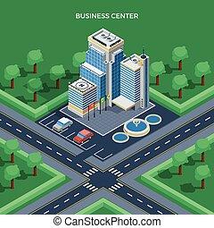 negócio, isometric, vista, topo, centro, conceito