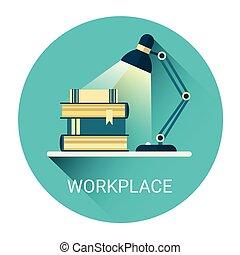 negócio, lâmpada, livros, local trabalho, estudante, ícone