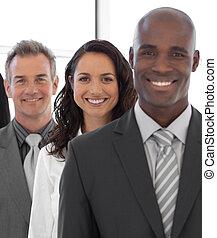 negócio, líder, com, equipe, em, a, fundo