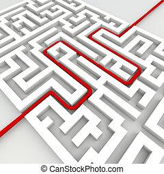 negócio, labirinto, sucesso, conceito