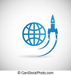 negócio, lançamento foguete, símbolo, espaço, startup, ...