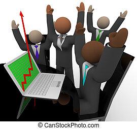 negócio, laptop, alegrias, crescimento, seta, equipe