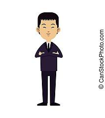 negócio, liderança, asiático, paleto, laço, homem