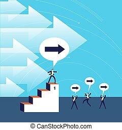 negócio, liderança, conceito, sucesso, ilustração
