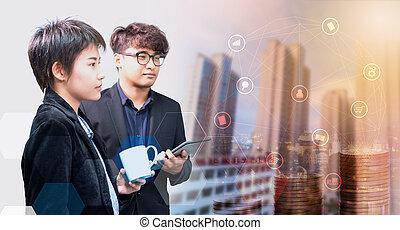 negócio, ligado, tecnologia