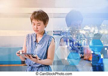 negócio, ligado, tecnologia, e, fintech