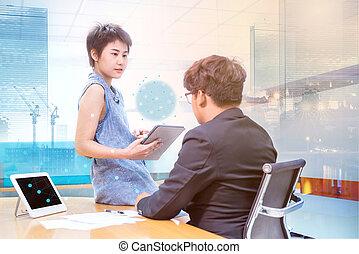 negócio, ligado, tecnologia, e, inovação, em, futuro