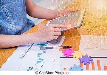negócio, ligado, tecnologia, e, inovação