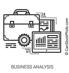negócio, linha, análise, icons.