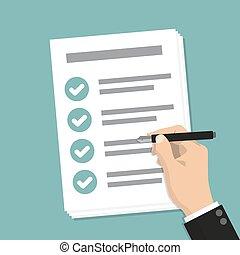 negócio, lista de verificação, mão, caneta, papel, segurando