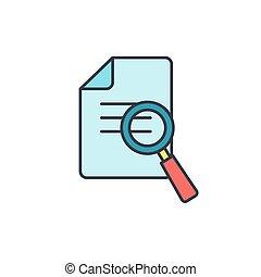 negócio, lista de verificação, -, vidro, vetorial, documento, magnificar, ícone