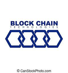 negócio, logotipo, bloco, corrente, illustration.