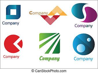 negócio, logotipos, amostras, pacote