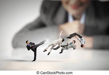 negócio, luta, como, competion, conceito
