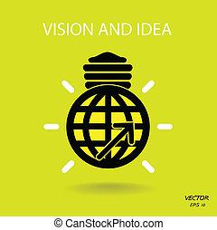 negócio, luz, símbolo, idéias, sinal, visão, bulbo, logotipo, ícone