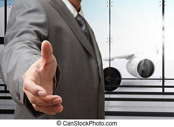 negócio, mão, aeroporto, oferece, abanar, homem