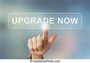 negócio, mão, clicando, actualização, agora, botão, ligado,...