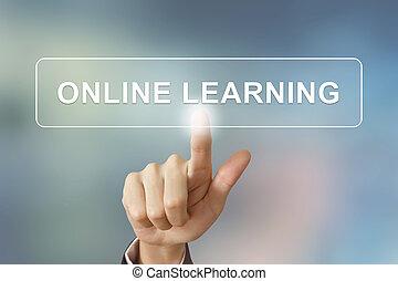 negócio, mão, clicando, aprendizagem online, botão, ligado, obscurecido, backgro