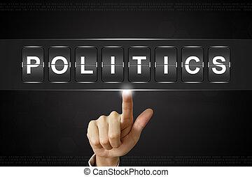 negócio, mão, clicando, política, ligado, flipboard