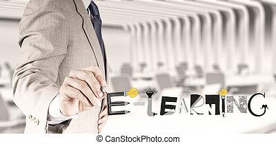 negócio, mão, desenho, desenho, gráfico, handdrawn, e-aprendendo, palavra, como, conceito