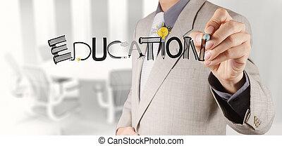 negócio, mão, desenho, projeto gráfico, educação, palavra, como, conceito