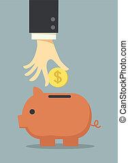 negócio, mão, dinheiro saving, em, piggy
