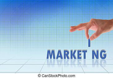 negócio, mão, e, palavra, marketing