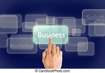 negócio, mão, imprensa, tela toque