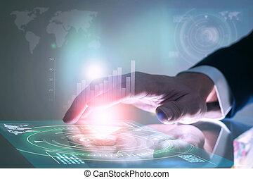 negócio, mão, tocar, dados, screen., futurista, tecnologia, concept.