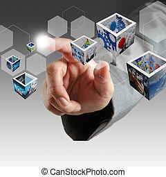 negócio, mão, toque, virtual, botão, e, 3d, imagens
