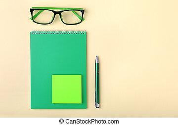 negócio, macro, desktop:, diário, acessórios, glasses., foco., chafariz, borrão, caderno, caneta, macio
