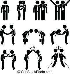 negócio, maneira, gesto, saudações