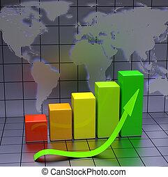 negócio, mapa, com, verde, seta