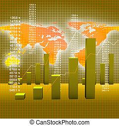 negócio, mapa, e, gráficos
